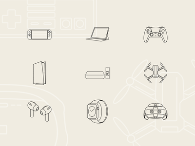 Free Tech & Electronic Technology icons electronic tech deices helmet ipad playstation icondesign iconsets iconset vr airpods watch mavic drone nintendoswitch nintendo tv apple icons gamepad