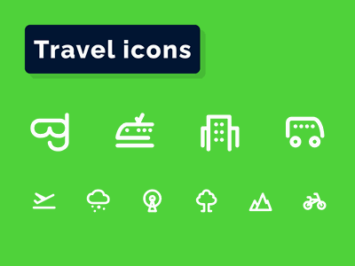 Travel Icons Set tourism world island airport airplane beach flight journey hotel travel
