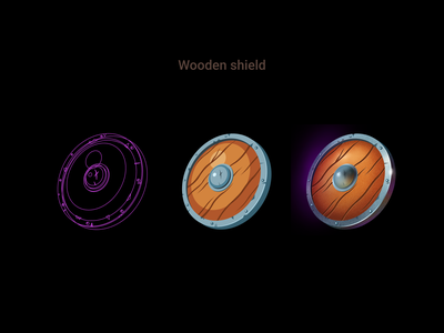 Wooden shield - process game design uidesign illustrator shield wooden items item card game artwork illustration icons