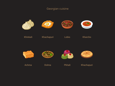 Georgian cuisine national eats georgia sketch stylization food illustration illustraion icons foodicons food