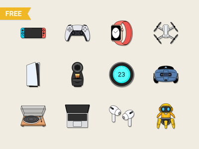 Free Tech & Electronic Technology icons drone coffee vroom nintendo apple music app figmadesign sketch freeicons freebieicons freebie free tech future accessories game electronics gadget devices icons