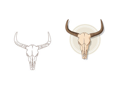 Cow skull illsutrator vector illustration horror horns sign skull cow