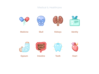 Medical & Healthcare icons set #8 gypsum intestine heart tooth medical card card idenity identity kidneys skull medicine sketch icons