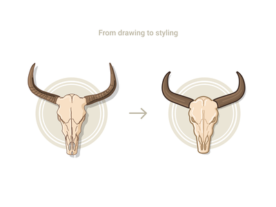 From drawing to styling illustration illustrator abstract contour form concept vector styling drawing skull cow