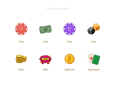 Casino Icons Set happy 7 coin gold decks card money cash game passion casino icons dice chip