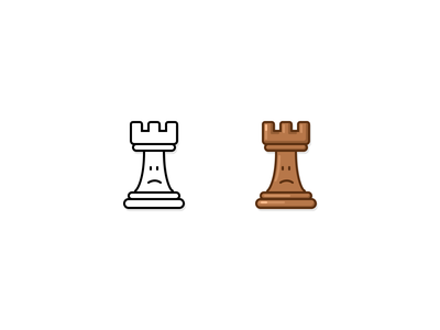 Chess icon graphic design style cartoon brown sad rook avatar emotion smiley face smile game chess