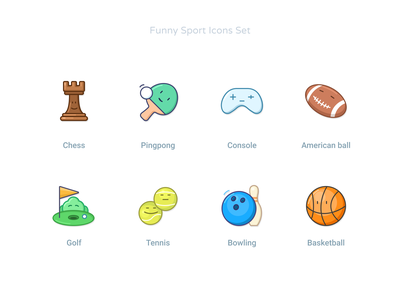 Funny Sport Icons Set american basketball bowling tennis golf chess smiles lucky funny fun faces kawaii fuunyicons vectoricons icondesigner icondesign iconset icons games sport
