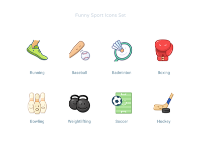 Funny Sport Icons Set #2 icon design humor faces funny illustration balls baseball bat weightlifting bowling soccer hockey boxing badminton baseball runnig iconography iconset sporticons sport icons