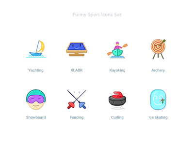 Funny Sport Icons Set #3 games sport sea yachting fencing snowboarding skating ice curling icondesigner icondesign klask kayaking archery faces smile character design character cartoon funny