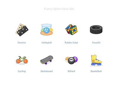 Funny Sport Icons Set #4 iconset billiard skateboard cycling emoji skile faces games sports baseball basketball crossfit cube rubik vollyball domino icondesign iconet icon icons