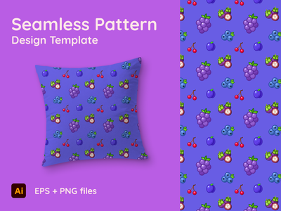 Theme starring Grape - Seamless Pattern blueberries mangosteen cherry plum grape fruits cartoon cute artwork graphic seamless ornament texture fabric background template design