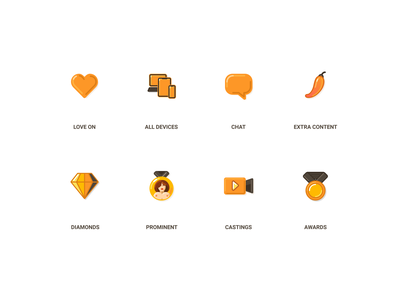 Fresh icons for adult project awards support all devices diamonds casting models gold orange uidesign content extra xxxicons icondesigner icondesign erotica secret sex adult