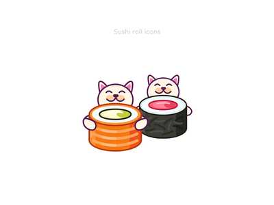 Sushi roll icons food sketch smile cartoon icons cute cats rolls sushi