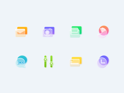 Frosted Glass Icons Set - part 1 icondesigner icondesign uidesign basic light shadow transparent minimal style clear skeuomorphism morphism glass icons figma