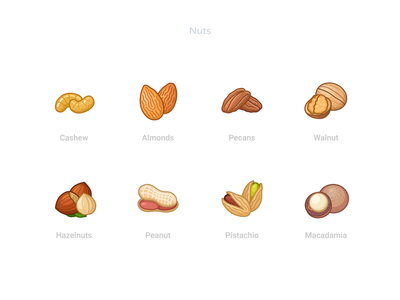 Nuts icons earth brown wood tree green natural forest nuts food