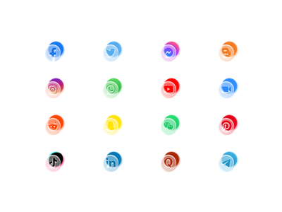 Free Social Frosted Glass Style Icons media social whatsapp instagram twitter assets brand logos facebook ui morphism frostet glass figma download free icons