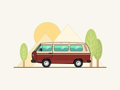 Volkswagen T3 - Vector trip road transporter family minivan bus t3 volkswagen landscape nature travel retro illustration auto car figma vector