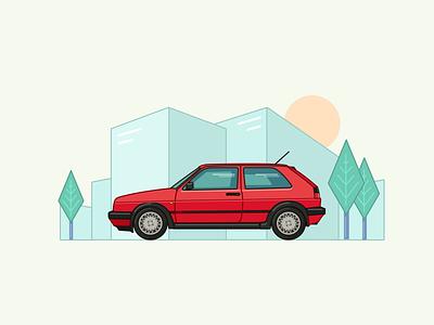 Volkswagen Golf MK2 - Vector illustration red speed style retro 80s teenager gti mk2 golf volkswagen figma vector auto car