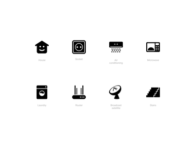 Smart Home Icons (Solid style) app remote access devices home smart house icons