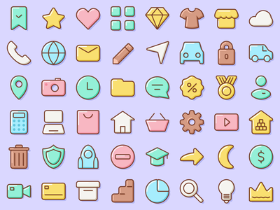 Set Updated! app design icon basic essentials popular like loving delicate soft touch marshmallow volume vector uielements uidesign ui sweet figma icons