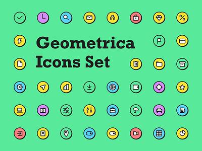 Geometrica Icons Set simple basic helpfull illustrator svg essentials pupular shadow vintage retro uidesign ui icon set icons pack icons outline vector figma