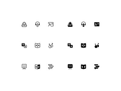 Language pictograms grammar spech words language soild badge symbol pictogram icon icons vector figma