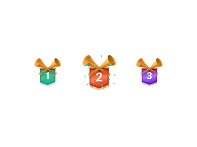 New level - sketches figma icondesigner icondesign icons ribbons horn achievement award level new