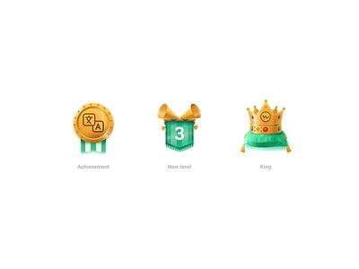 Achievement type vector figma ui sketch skeuomorphism new badge award level king gold icondesigner icondesign icons icon achievement
