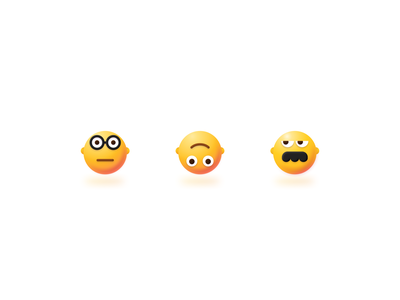 My new emojis icons mustache down upside glasses svg figma vector 3d smile emojis