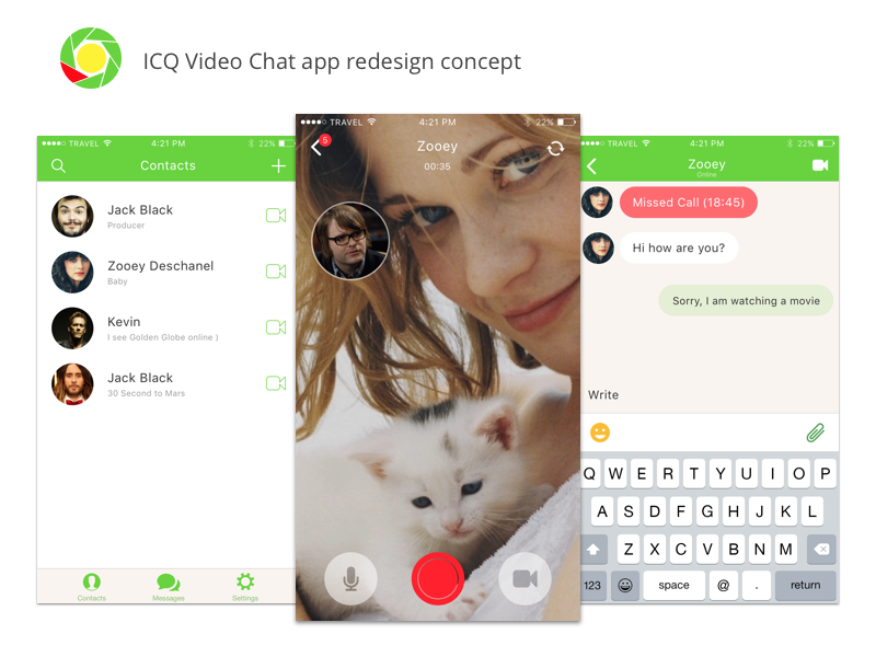 ICQ Video Chat - Concept by Alex Martinov on Dribbble