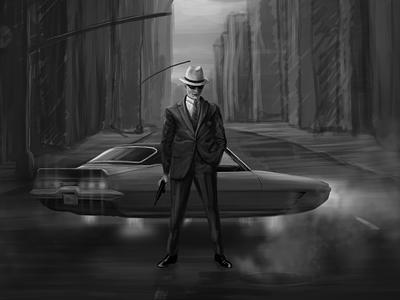Sketch for game retro auto game air boss gun gunster man cars future mafia sketch