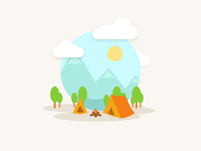 Camping highlands tent sun forest summer relax vector nature camping
