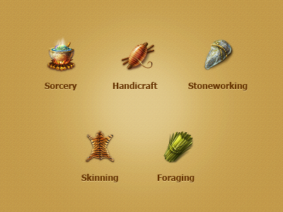 Icon Profession for online game skinning mezzzo icon stone craft handcraft foraging yellow sorcery stoneworking mesolith game online simple profession