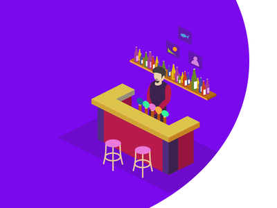 Illustration about bar icon vector isometric barman alco bar beer store magazine sales shop people