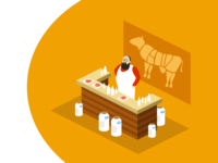 Illustration about meat and milk