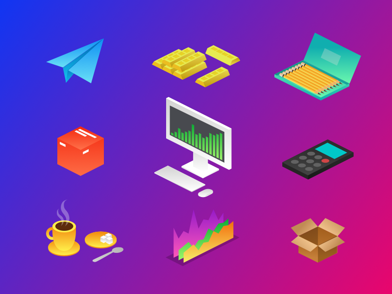 New items calculator gold paperplan pencil tea pc box illustration files icons kit business