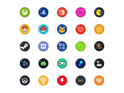 Free Game Icons mario nintendo blizzard steam wow brand sketch freebie download kit icon game logo vector pack set free
