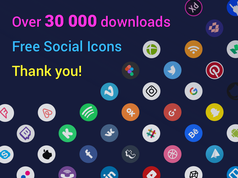 Social Icons 30 000 downloads set vector kit app icon download brand logo adobe png svg eps figma sketch psd icons social free