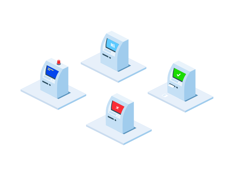 Atm icons success ok hi atm error blue screen cash usd red alert warning empty state isometric icons set pack sketch affinity
