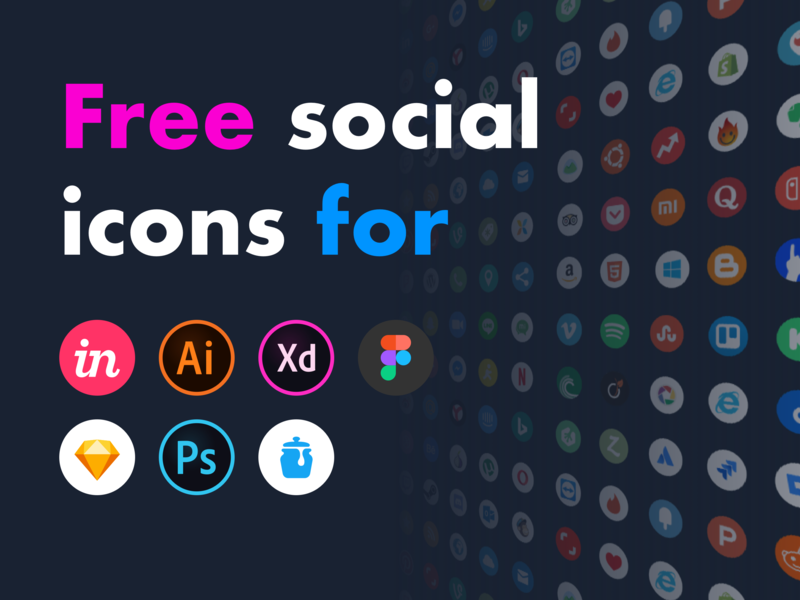 Free Social Icons badge assets company brand branding logo design ui kit free set app sketch icon icons vector