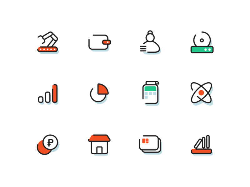 More icons in new style icon evotor style book outline red line set pack green market money place production terminal hr