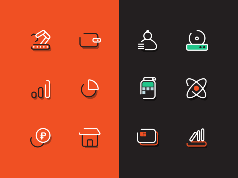 Color version hr terminal production place money market green pack set line red outline book style evotor icon