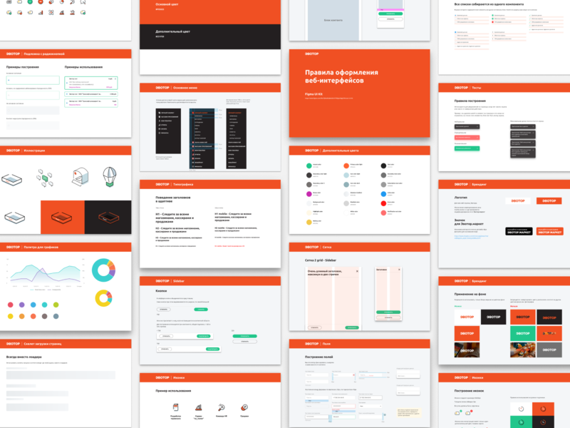 Some screens of UiKit book ui design order system design guide style web brand red evotor guidelines set lit ui