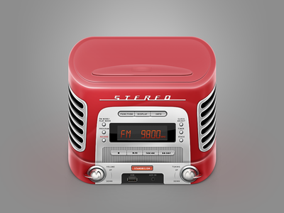Icon retro music box skeuomorphism ios app apple music box audio tape disk stereo silver fm vintage radio 60s retro player cd track play mp3