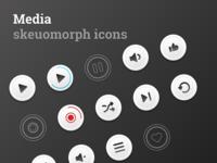 Media skeuomorph icons