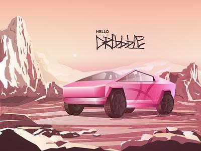 Hello Dribbble - Cybertruck hello hello dribbble illustration cybertruck design futuristic spacex mars nuke model car illustrator artwork burnwe dribbble tesla