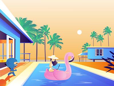 Reload Ninja & a girl working from pool burnwe artwork after effects home house video explainervideo explainer animation illustration girl pink flamingo blue ninja beach california palm ninja flamingos flamingo pool