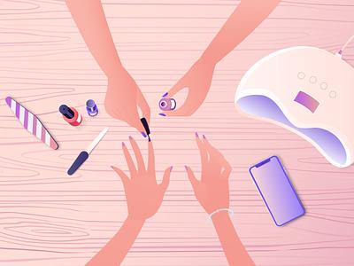 Beauty Salon - Nailing animation after effects burnwe explainer video explainer illustrators illustrator table wood nail polish manicure shellac iphone nail salon beauty hands nailing
