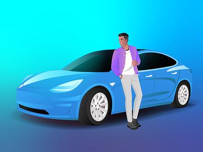 Man With Tesla Model 3 - NBA Firm trend 2020 jacket smiling burnwe electric car event illustration purpole blue color blue car rolex car tesla model 3 3 model tesla guy