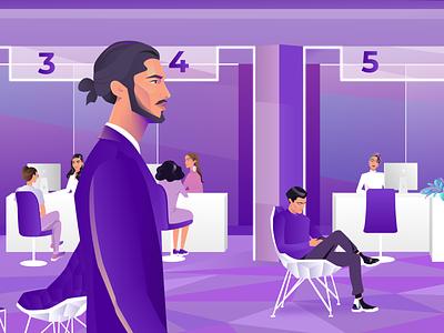 Businessman at Bank face adobe 2d colorful business burnwe aftereffects animation 2020 design bank man purple illustration dribbble trend